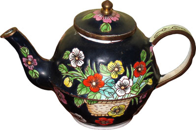 Mini Black Floral Teapot