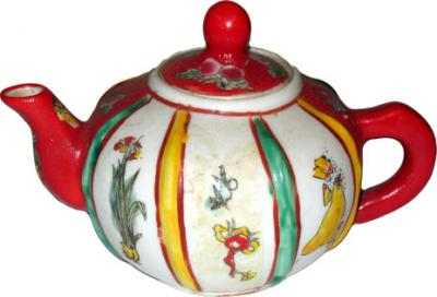 Mini Red and White Teapot